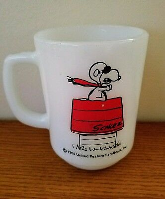 Vintage Fire King Snoopy Mug - Curse You, Red Baron!