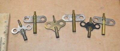 6 Vintage Double Ended Clock Winding Keys (5) Size 6 & (1) Size 2