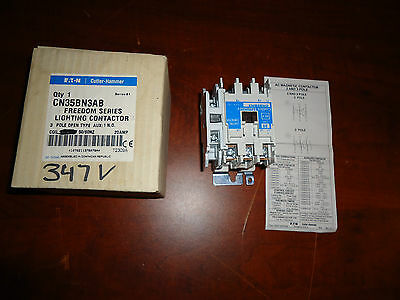 Eaton Lighting Contactor 3,pole, 20A, Coil 347V Cat#cn35Bn3Ab, New In Box