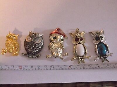 5 Owl Brooches and Drops.. All Vintage OWL Costume jewelry lot