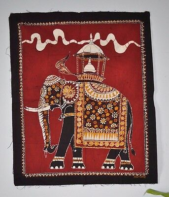 Vintage Batik Art Wall Hanging by Maithree  - Elephant - 30 x 25 ""