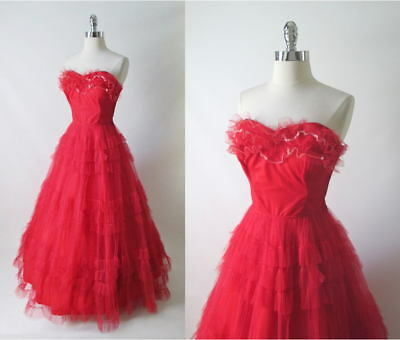 Vintage 50's 40's Red Strapless Full Skirt Party Dress Evening Formal Gown XS