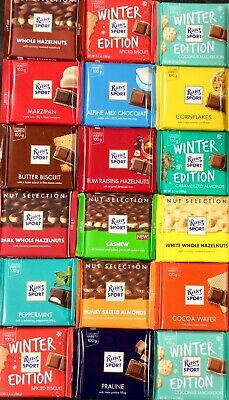 TWO Packs of Ritter Sport Chocolate, YOU CHOOSE Coconut, Mint, Hazelnuts Etc