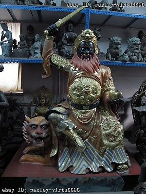 Tibet Bronze Multicolored Painted God of wealth Guan Gong Ride on Tiger Statue