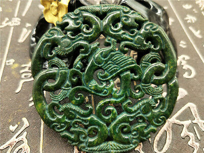 Old China Hand-carved jade Pendant worn aristocratic art collection B126