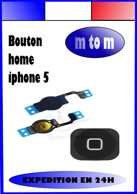 Bouton Home Nappe Complet Iphone 5 Noir Blanc Argent Or Expedition En 24H