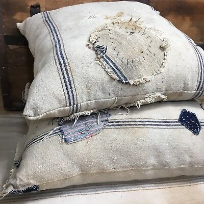 Antique Grain Sack Pillow Worn Grungy Primitive Early AAFA Patched Vtg Old