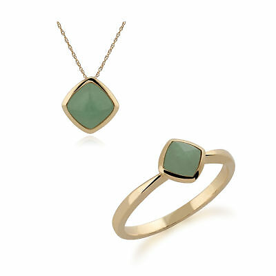 9ct Yellow Gold Cushion 7mm Jade 45cm Necklace and Ring Set