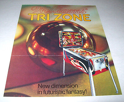 TRI ZONE By WILLIAMS 1979 ORIGINAL SS PINBALL MACHINE SALES FLYER BROCHURE