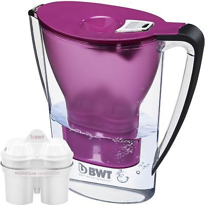 BWT Water Filter Jug 2.7L Aubergine and 1 Magnesium Mg2+ Longlife 120L Cartridge