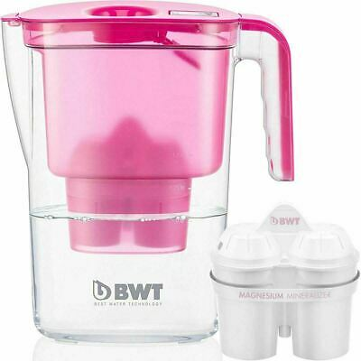 BWT Vida Water Filter Jug, Pink 2.6 Litre with 1 x Mg2+ Longlife 120L Cartridge