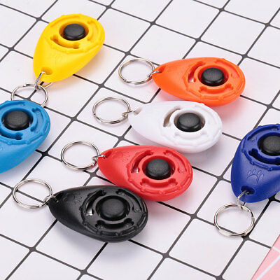 Pet Dog Puppy Clicker Trainer Train Tool Multi Color With Keychain Tool