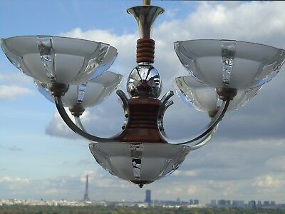 chandelier ezan no signed vintage art deco ceiling light fixture lamp superb
