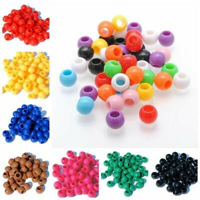 100pcs 10mm Big Hole Charms Round Acrylic Spacer Loose Beads DIY Crafts 22 Color
