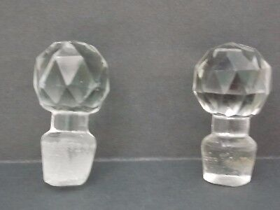 Crystal Cut Glass Decanter Stoppers ~ Lot of 2