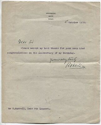 Lord Roberts (First Earl Roberts) signed letter dated October 1909