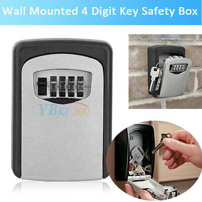 4 Digit Wall Mount Combination Key Lock Box Safe Security Case Organizer Outside