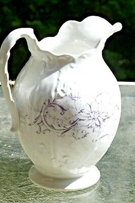 Knowles Taylor Knowles Iroquois Embossed White Ironstone Water Pitcher 1905-1920