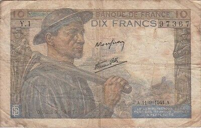 FRANCE BANKNOTE P99a 10 FRANCS 11=9=1941 SCARCE DATE, VG