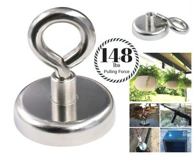 148 LB pull Super Strong Rare Earth Round Neodymium River Fishing Magnet Eyebolt
