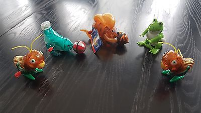 Lot of 5 Z Wind Up Toys Scamper Squirrel 2 Crickets Seal Hans Frog Plastic Toy
