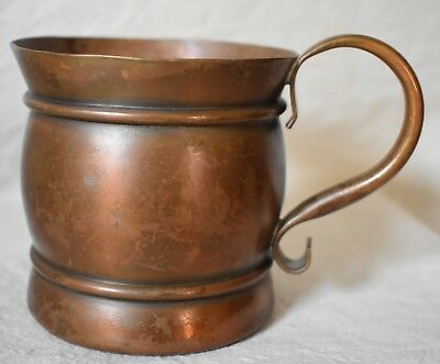 Copper Drinking Cup with Curved Handle 3 1/2 inches tall Unique shape