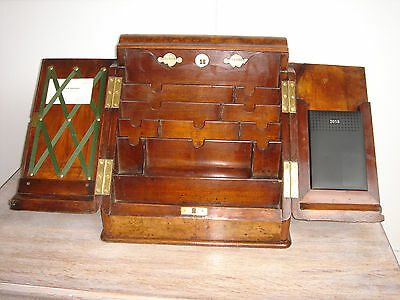 Vic.c1850 Burr Walnut writing Cabinet date letter card & diary display lock&key