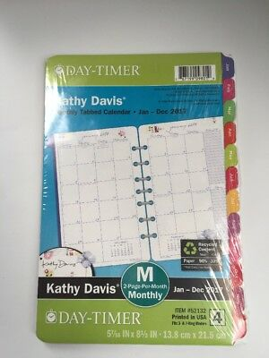"""NEW 2017 DAY-TIMER KATHY DAVIS Size 4 MONTHLY Planner Refill 5 1/2""""x 8 1/2 52132"""