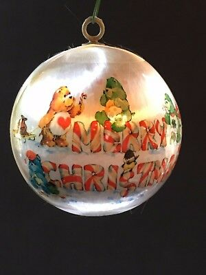 CARE BEAR - Vintage 1984 - Satin MERRY CHRISTMAS Tree Ball / Ornament