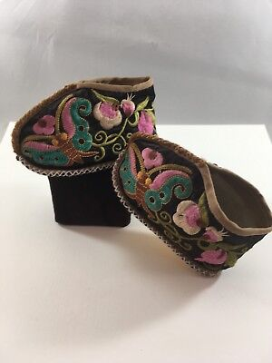 Vtg Chinese Asian Embroidered Silk Child's Ceremonial-Festival Booties-Shoes