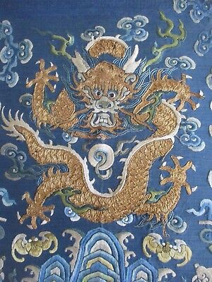 Antique 19th c Chinese gold embroidery five claw dragon - rank badge