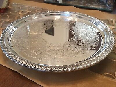 Superb Vintage E.h.parkin Silver Plated Chased Footed Drinks Tray