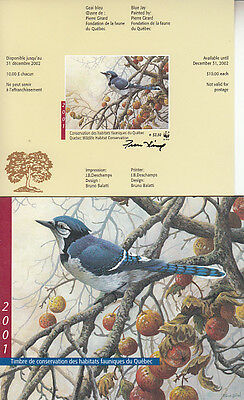 Canada MNH Quebec Conservation 2001 WWF  QW14A IMPERF SIGNED  Value $ 60.00