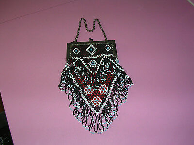 RARE Victorian Hand Made V Shaped Beaded Bag Purse
