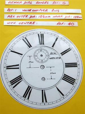 Buyers Ref:G,  Replacement laminate White  Vienna Regulator Clock Dial option 7