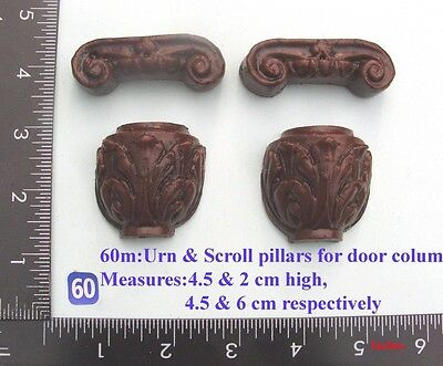 "60M ""Pair Urn & Scroll Pillar capitals"" clock case / furniture DIY"