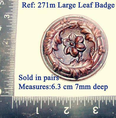 "271m Pair of ""large leaf badge"" for Vienna regulator clock cases, DIY* furniture"