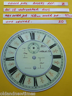 Buyers Ref:Z,  Replacement laminate Ivory  Vienna Regulator Clock Dial option 24