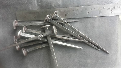 10piece Square Head Hand Forged Blacksmiths Wrought Iron Nails 150mm Long