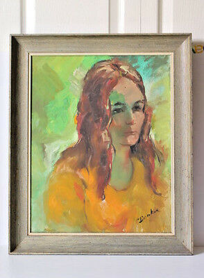 Vintage 50s Woman Oil Painting Mid Century Modern Retro Art Wall Hanging Signed