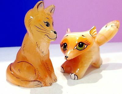 Foxes figurines natural stone Selenite hand painted Souvenirs from Russia