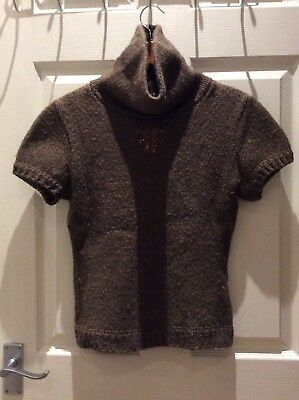 FENDI Turtleneck knitted sweater short sleeves brown M