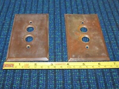2 Vintage Double Push Button Brass Light Switch Wall Plate Covers ..Great Patina