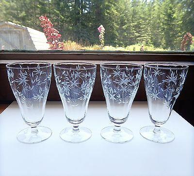 Vintage Crystal Etched Water Stemware Set of 4