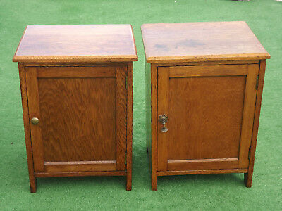 Beautiful Pair of Honey Coloured Oak Art Deco Bedside Cabinets with Towel Rails
