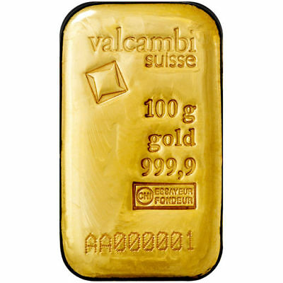 ON SALE! 100 Gram Valcambi Cast Gold Bar (New w/ Assay)