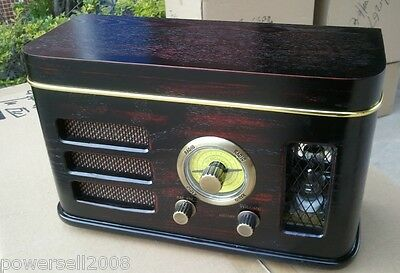 Wave Band Fashionable Classical Wooden L 31*W 14*H 18 CM Brown Desktop Radio