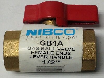 "Nibco GB1A Brass Gas Ball Valve Female Ends Lever Handle Inline 1/2"" NPT NOS"