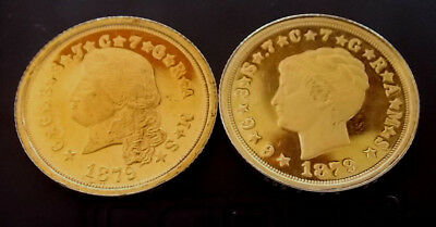 1879 24Kt Gold Plated Over .999 Fine Pure Silver Fantasy Issue Coin