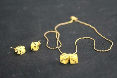 Vintage Dice Earrings & Necklace Set (Bakelite?) - EX Condition - Free Shipping!